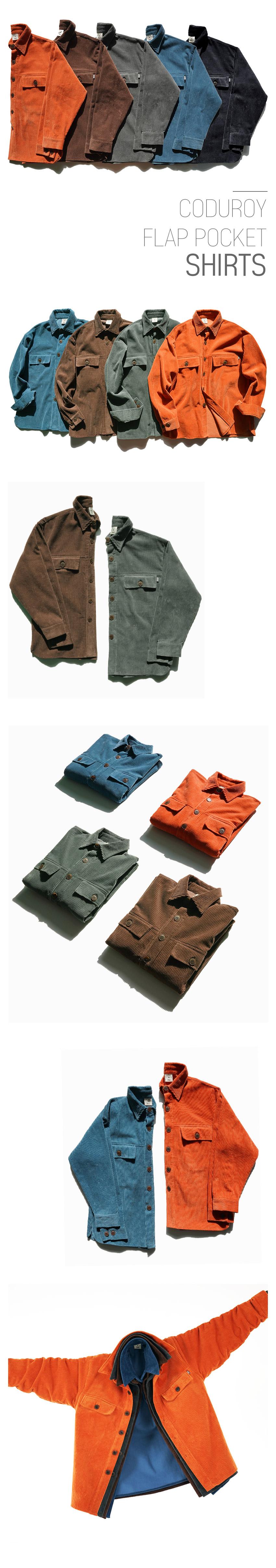 [페플] 코듀로이 플랩 포켓 셔츠 5종 SJLS1223