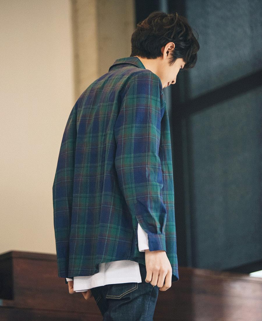 [제멋] 레트로 오버핏 체크셔츠 블루레드 HJLS2114