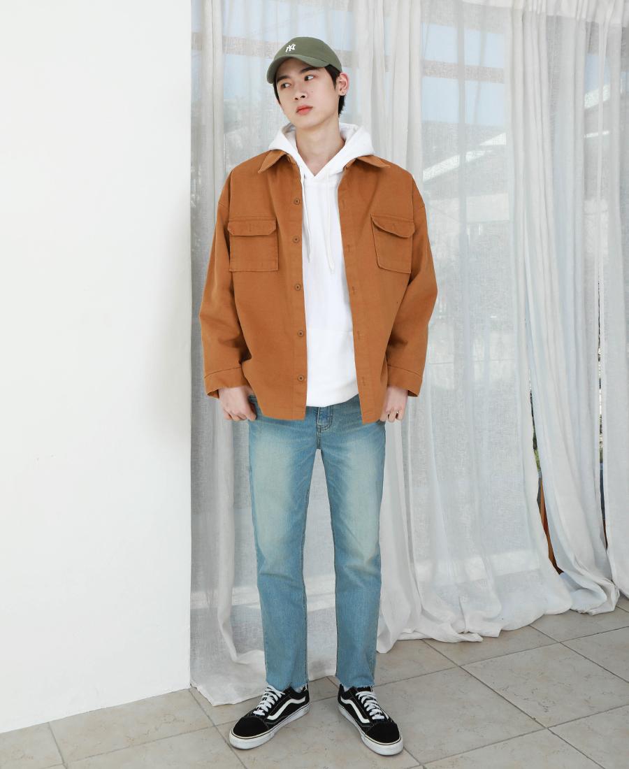[제멋] 빅포켓 소프트 셔츠 카멜 KJLS2178