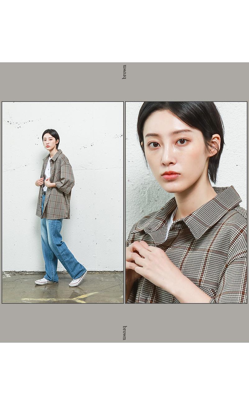 제멋(JEMUT) [기획특가] 하운드 투스 체크 반팔셔츠 카키 HSSS2207