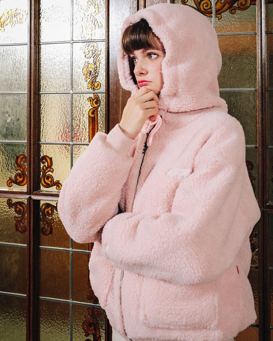 더블유브이프로젝트(WV PROJECT) 티니 양털 후드집업 초코 MJHD7194