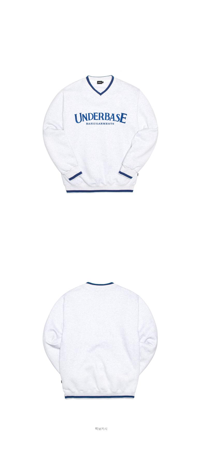[언더베이스] 2X1 브이넥 맨투맨 검정 SMMT9013