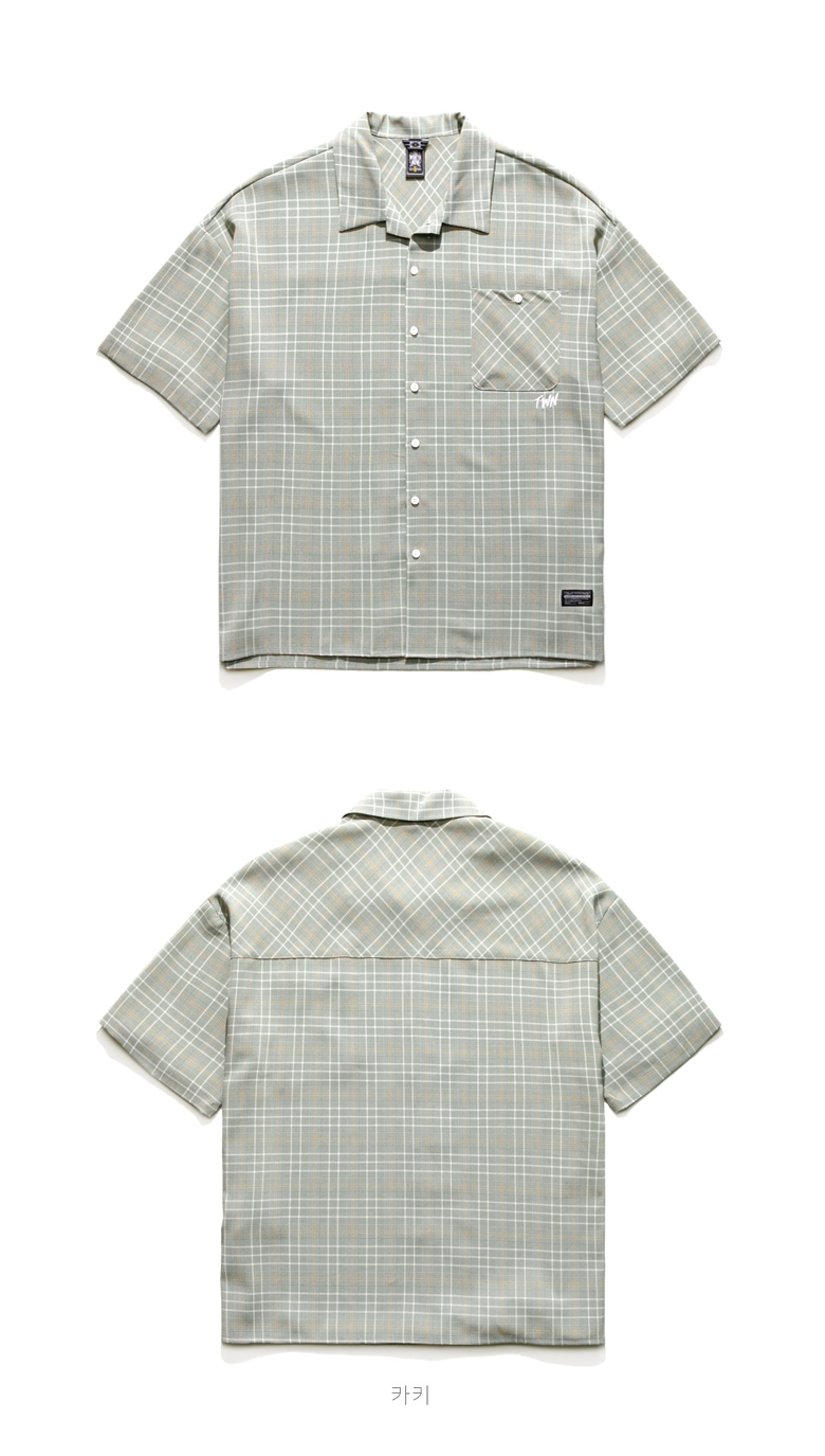 [티떠블유엔] 미니멀체크 3종 셔츠+숏팬츠 세트 YMLS3115 YMSP3116