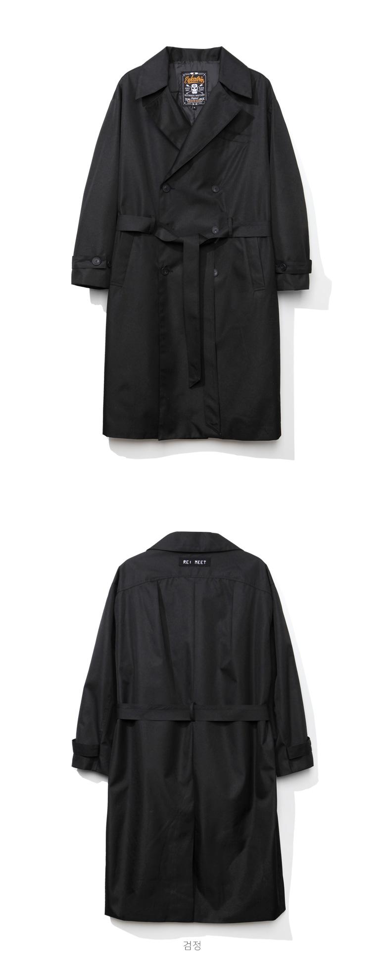 에즈카톤(EZKATON) 헤링본 로브 트렌치코트 검정 YMOT6507