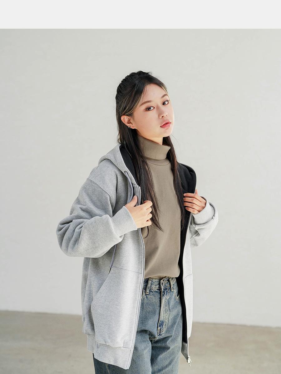 [제멋] 티드 오버핏 투웨이 후드집업 카키 YHHD2310