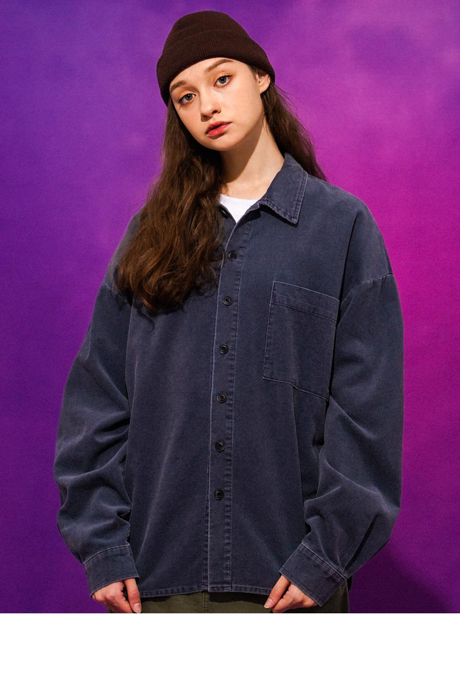 티떠블유엔(TWN) 워싱 코듀로이 셔츠 인디핑크 SHLS3315
